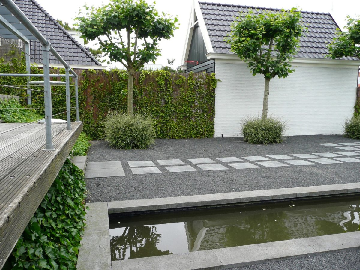 Strakke tuin met overkapping